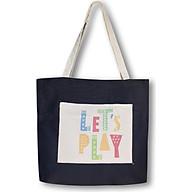 Túi tote đeo vai thời trang Covi in chữ Let s play vải canvas màu đen thumbnail