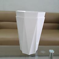 Combo 02 chậu nhựa trồng hoa kiểng tám cạnh trắng 25cm x 32cm thumbnail