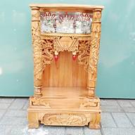 Bàn thờ gỗ Xoan Đào ngang 48 quỳ trụ điện tử màu vàng nhạt thumbnail