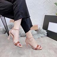 Tặng 1 Son HQ Giày Sandal Cao Gót Nữ Quai Ngang Gót Cao 6cm Gót Sơn Lõi Hàng VNXK - Freeship thumbnail