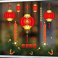 Decal dán kính trang trí chào năm mới- đèn lồng chào xuân- mã sp AMJ915 thumbnail