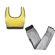 Bô quần áo tập yoga, tập gym nữ cao cấp áo hai dây đan chéo sau lưng SR07 YG bộ vàng thumbnail