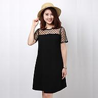 Đầm bầu, váy bầu đen cổ ren chấm bi thời trang thumbnail