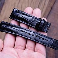 Dây đồng hồ da cá sấu 1 mặt size 20 (màu đen cao cấp) thumbnail