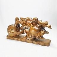 Tượng ÔNG DI LẶC KÉO BAO TIỀN gỗ Bách Xanh chuẩn - HÀNG MỘC -tượng phật thumbnail