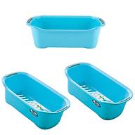 Bộ 3 khay chứa đồ dùng phòng tắm tiết kiệm không gian (màu xanh) - Hàng nội địa Nhật thumbnail