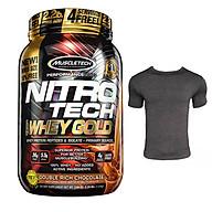 Combo Sữa tăng cơ giảm mỡ Nitro Tech 100% Whey Gold của Muscle tech hương Chocolate hộp 31 lần dùng hỗ trợ tăng cơ, giảm cân, đốt mỡ, phục hồi cơ bắp & Áo thun thể thao (size L 68-80 kg) thumbnail