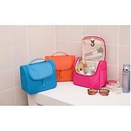 Túi đựng mỹ phẩm nhiều ngăn, chống thấm nước, có tay cầm, móc treo tiện lợi+ Tặng kèm dây cột tóc, giao màu ngẫu nhiên thumbnail