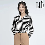 Áo sơ mi nữ sọc trắng đen LUD Fashion thumbnail