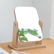 Gương trang điểm để bàn decor mini 13x18cm, xoay 360 độ, chất liệu gỗ ép thân thiện, sang trọng thumbnail