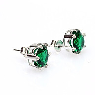Bông tai bạc - Khuyên tai bạc - Hoa Tai Bạc Hiểu Minh HT070 đá Xanh Lá Cây thumbnail