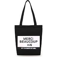 Túi đeo chéo, túi đeo vai nữ vải Canvas in chữ Merci thumbnail