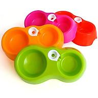 Bát nhựa đôi cho chó mèo, Bát cắm bình, Bát ăn uống tự động cấp nước (màu ngẫu nghiên) thumbnail