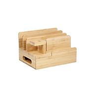 Multifunctional Bamboo Wood Storage Bracket Mobile Phone Tablet Storage Base Desktop Organizer for Phone Smart Watch thumbnail