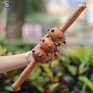 Cây lăn Massage toàn thân 3 bánh bi gai bằng gỗ Bách Xanh thơm (MH892) chăm sóc sức khỏe - giảm căng thẳng mệt mỏi thumbnail