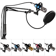Professional Broadcasting Studio Recording Condenser Microphone Kit with Mic Windscreen + Shock Mount + Adjustable thumbnail