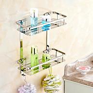 Kệ 2 tầng góc bằng inox 304 đựung gia vị, sữa tắm, dầu gội trong nhà bếp, nhà tắm,... thumbnail