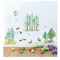 Decal dán tường con nai và rừng cây thumbnail