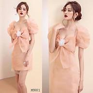 Đầm suông Organza hoa nơ ngực tay phồng dự tiệc đi chơi dễ thương kèm hoa cài - MN67 - Đầm Váy Mina thumbnail
