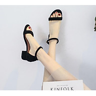 Giày cao gót nữ 5 phân đế vuông quai ngang bít gót hở mũi thumbnail