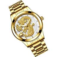 Đồng hồ thời trang nam đồng hồ nam rồng vàng chạm nổi 3D thumbnail