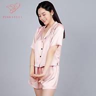 Bộ đồ ngủ lụa pijamas Pink Stull tay ngắn quần ngắn hồng pastel thumbnail