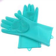 Găng tay silicon kiêm miếng rửa bát - màu ngẫu nhiên thumbnail