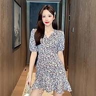 Đầm Hoa Mini Cổ Chữ V Đắp Chéo Nhúng Eo Đuôi Cá Phong Cách Thời Trang Pháp - MSP D12 thumbnail