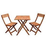 Bộ bàn ghế cafe cao cấp bằng gỗ tràm, gấp gọn 1 bàn vuông và 2 ghế thumbnail