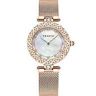 Đồng hồ nữ TRSOYE TR8809 mặt số VÀ viền đính đá sang trọng - quyến rũ không thấm nước Dây đeo lưới hợp kim thép thumbnail