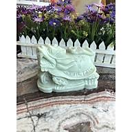 Tượng Long Quy ( Rùa đầu Rồng ) cõng gậy như ý phong thủy đá cẩm thạch trắng xanh - Dài 15 cm thumbnail