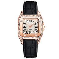 Đồng hồ thời trang nữ Dohora VN 155 máy Quartz chạy 3 kim mặt vuông đính đá dây da chống nước nhẹ thumbnail