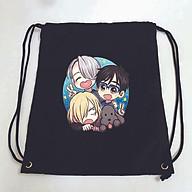 Balo dây rút đen in hình YURI ON ICE anime túi rút đi học xinh xắn thời trang thumbnail