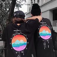 Áo thun tay lỡ SAM CLO freesize nữ phông form rộng Unisex, mặc lớp, nhóm, cặp in chữ CREPUSCULAR hình HOÀNG HÔN màu đen thumbnail