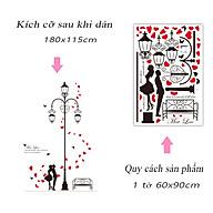 Decal dán tường trang trí phòng khách, quán cafe- Cột đèn trái tim- N0137 thumbnail