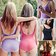 Monokini bikini liền mảnh viền trắng sporty thumbnail
