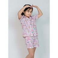 Đồ bộ pijama bé gái quần đùi áo cộc màu tím hồng hoạ tiết công chúa thumbnail