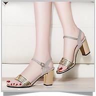 Giày nữ đẹp cao gót 7cm kim tuyến hở đầu đế vuông sang trọng thumbnail