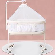 Cũi kề giường đa năng, nôi di động cho bé, giường ngủ riêng cho bé kem (trắng) thumbnail