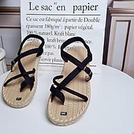 Giày sandal nữ đế cói thật quai chéo êm chân, đi du lịch thumbnail