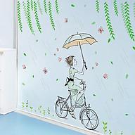 Decal dán tường chất liệu PVC loại 1 dày dặn, sắc nét, trang trí quán cafe, phòng khách- Cô gái đạp xe dưới mưa- mã sp XL7220 thumbnail