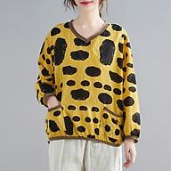 Women Loose Blouse Floral Dot Print Knitted V-Neck Long Sleeve Pockets Vintage Shirt Casual Tops thumbnail