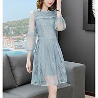 Temperament Women s Fashion Embroidered Chiffon Skirt Lace Edge Mid-length Slim A-line Skirt thumbnail