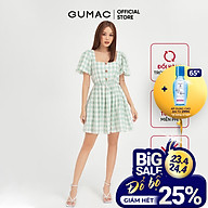 Đầm xòe nữ tay bí GUMAC họa tiết caro màu xanh trẻ trung DB485 thumbnail
