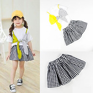 Set áo vàng váy caro cho bé gái R02941 thumbnail