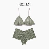 Bộ đồ lót ren không gọng mút mỏng nâng Xanh bơ quần lưng cao ôm bụng KRYSTAL KB56 thumbnail