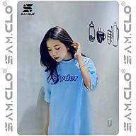 Áo thun nữ tay lỡ freesize phông form rộng dáng Unisex, mặc lớp, nhóm, cặp in chữ SLYDER màu xanh dương thumbnail