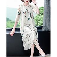 Retro and elegant mid-length three-quarter sleeve embroidered silk dress thumbnail