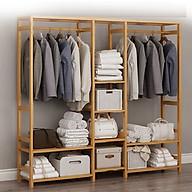 Tủ treo quần áo size lớn gỗ tre đẹp - Tủ quần áo trống khung tre mẫu lớn 149x30x165 thumbnail