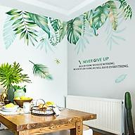 Decal dán tường Tán lá xanh nhiệt đới Never Give Up (2 mảnh) QR9100 thumbnail